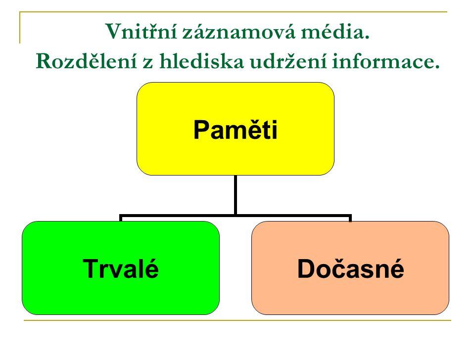 Vnitřní záznamová média. Rozdělení z hlediska udržení informace. Paměti TrvaléDočasné