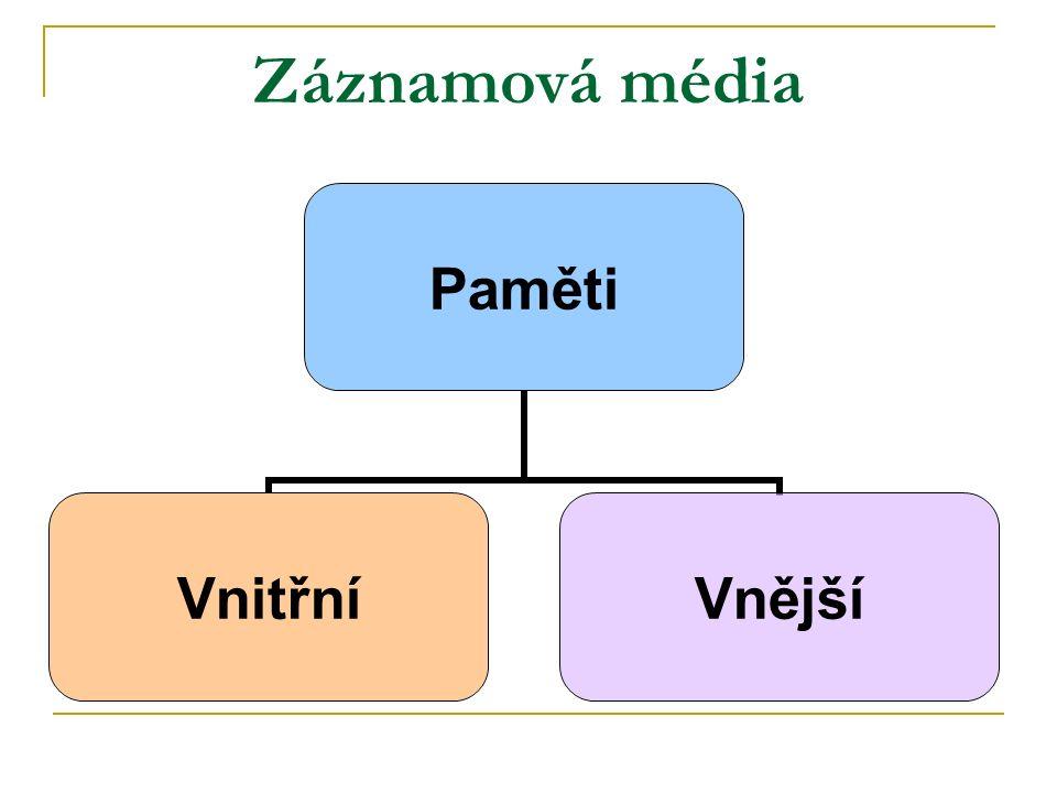 Vnější záznamová média Jedná se o přenosná záznamová média Často je nazýváme přenosné paměti.