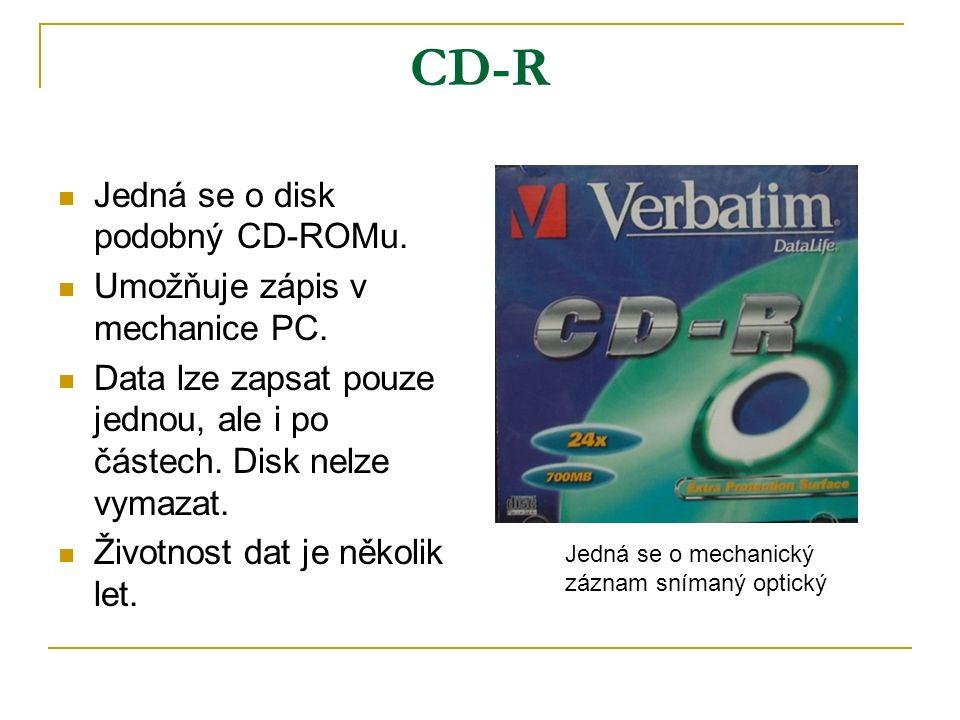 CD-R Jedná se o disk podobný CD-ROMu. Umožňuje zápis v mechanice PC.
