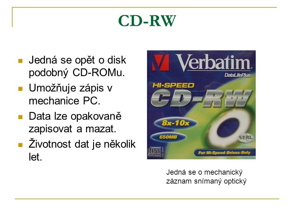 CD-RW Jedná se opět o disk podobný CD-ROMu. Umožňuje zápis v mechanice PC.