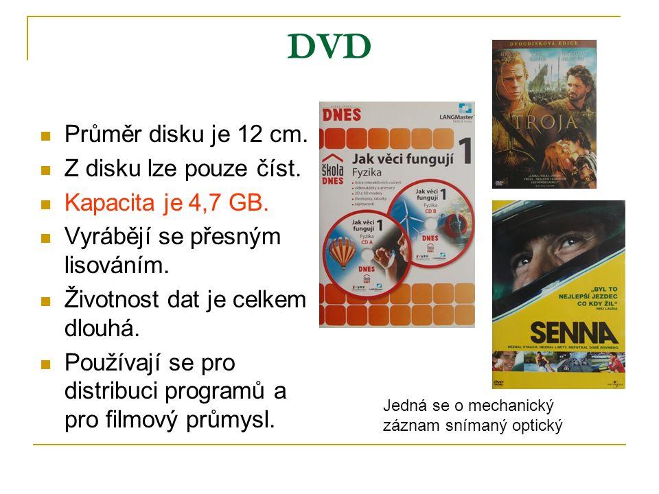 DVD Průměr disku je 12 cm. Z disku lze pouze číst.