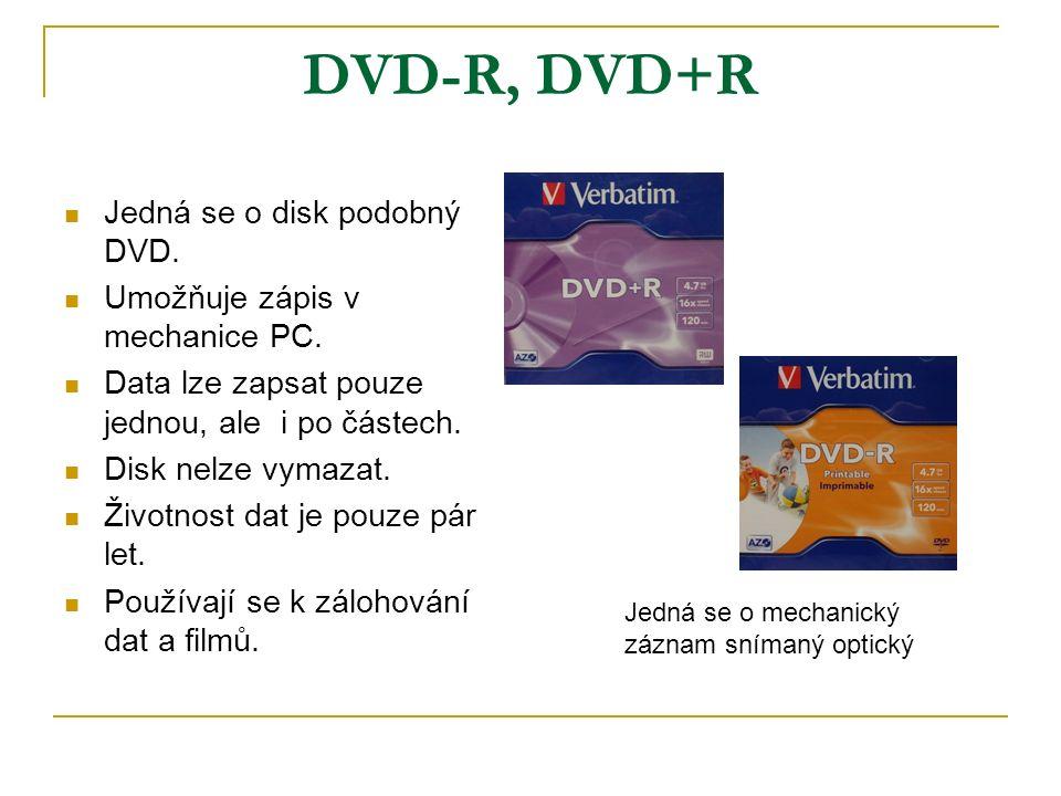 DVD-R, DVD+R Jedná se o disk podobný DVD. Umožňuje zápis v mechanice PC.
