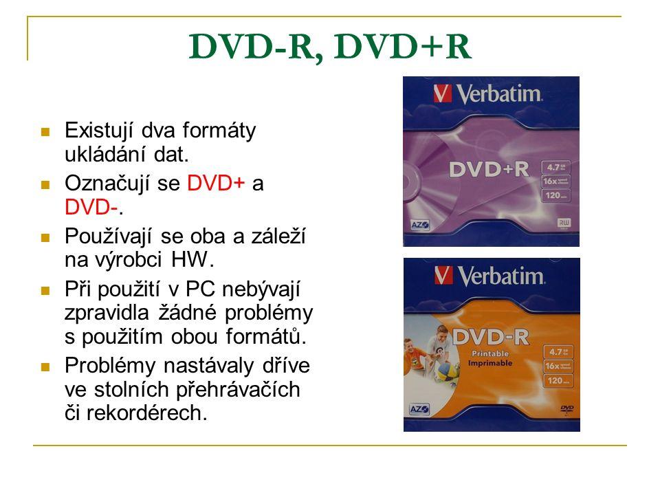 DVD-R, DVD+R Existují dva formáty ukládání dat. Označují se DVD+ a DVD-.