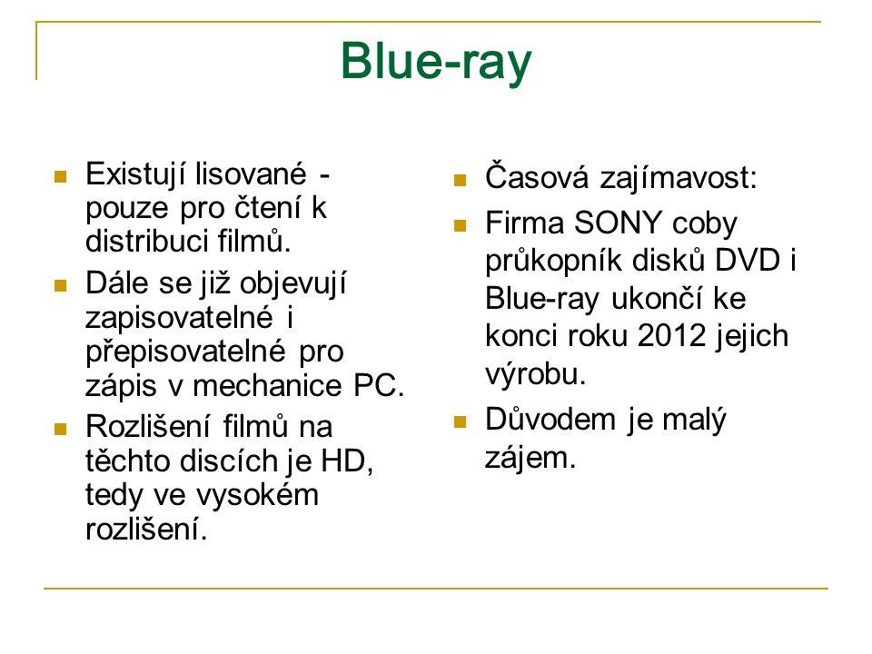 Blue-ray Existují lisované - pouze pro čtení k distribuci filmů.
