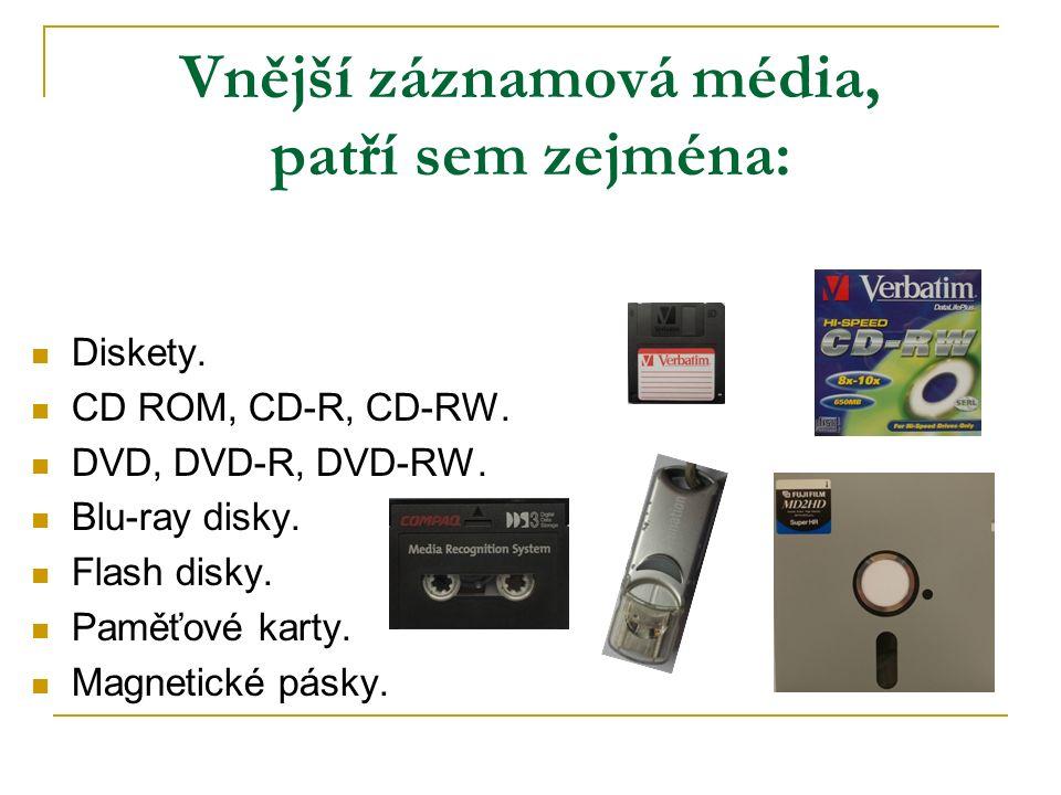Vnější záznamová média, patří sem zejména: Diskety.