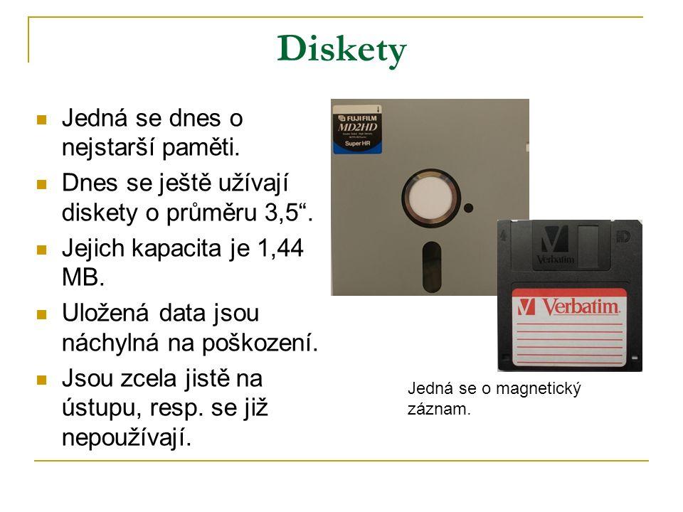Diskety Jedná se dnes o nejstarší paměti. Dnes se ještě užívají diskety o průměru 3,5 .