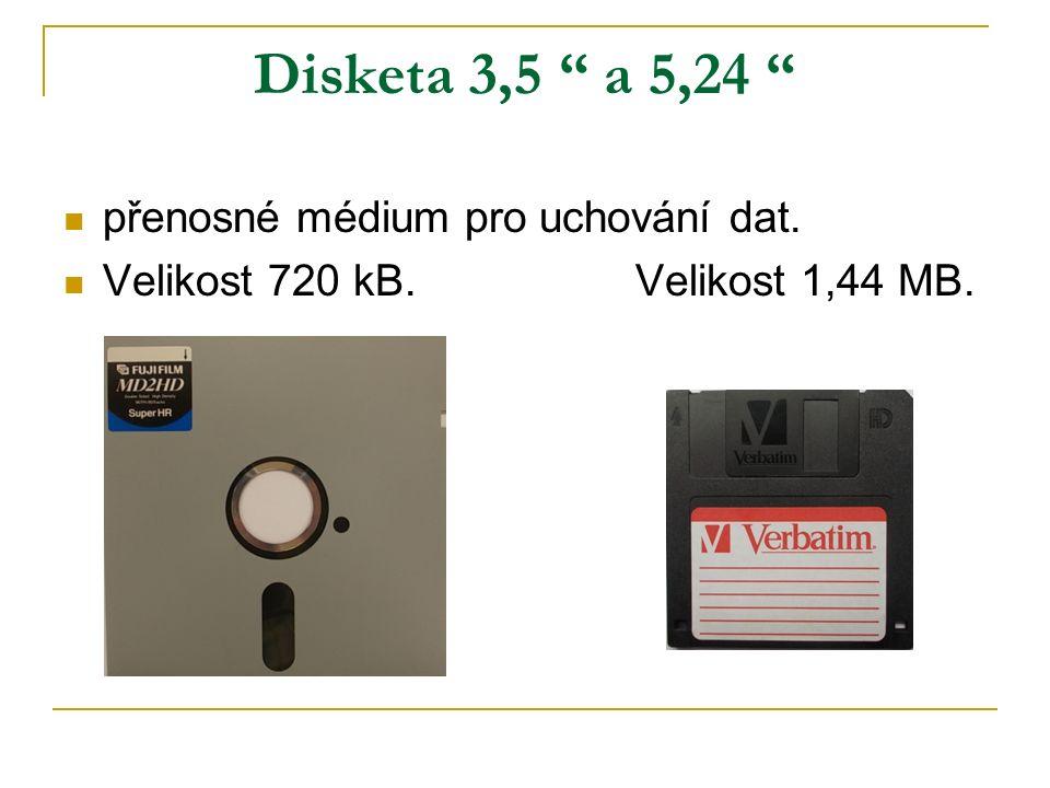 Vývoj diskety Se zmenšující se velikostí rostla kapacita.