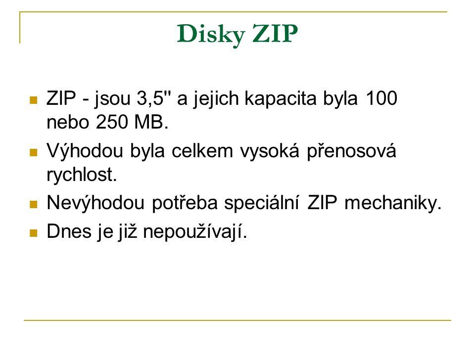 Disky ZIP ZIP - jsou 3,5 a jejich kapacita byla 100 nebo 250 MB.