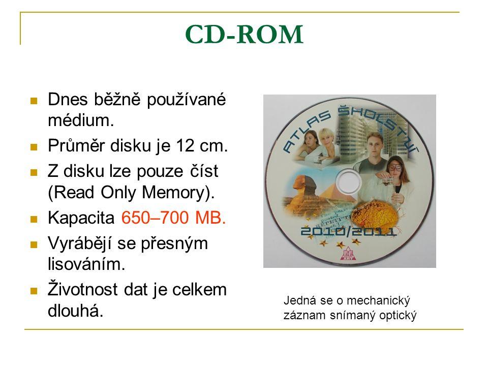 CD-ROM Dnes běžně používané médium. Průměr disku je 12 cm.