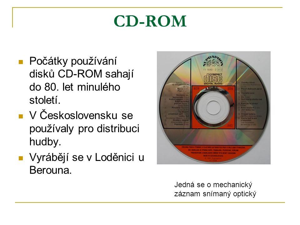 CD-ROM Počátky používání disků CD-ROM sahají do 80.