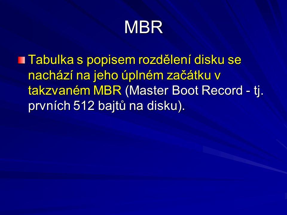 MBR Tabulka s popisem rozdělení disku se nachází na jeho úplném začátku v takzvaném MBR (Master Boot Record - tj. prvních 512 bajtů na disku).