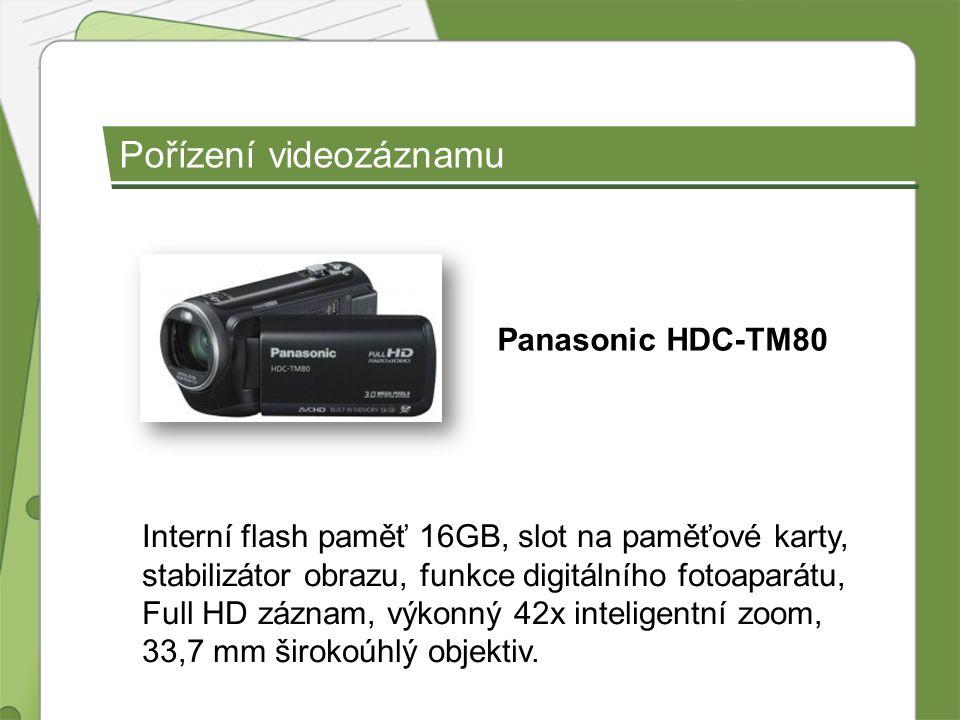 Pořízení videozáznamu Panasonic HDC-TM80 Interní flash paměť 16GB, slot na paměťové karty, stabilizátor obrazu, funkce digitálního fotoaparátu, Full H