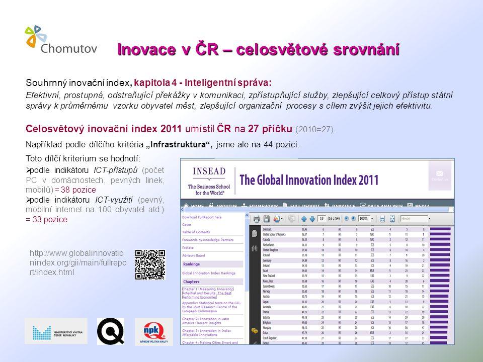 Inovace v ČR – celosvětové srovnání Souhrnný inovační index, kapitola 4 - Inteligentní správa: Efektivní, prostupná, odstraňující překážky v komunikaci, zpřístupňující služby, zlepšující celkový přístup státní správy k průměrnému vzorku obyvatel měst, zlepšující organizační procesy s cílem zvýšit jejich efektivitu.