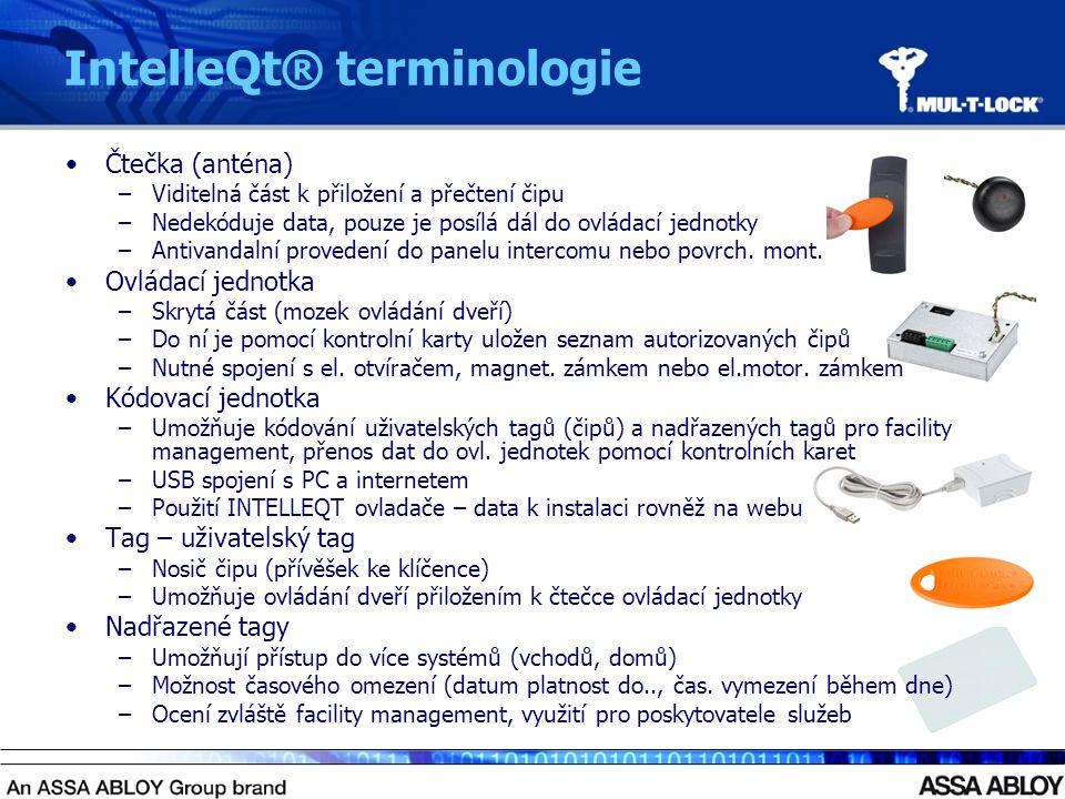 IntelleQt® terminologie Čtečka (anténa) –Viditelná část k přiložení a přečtení čipu –Nedekóduje data, pouze je posílá dál do ovládací jednotky –Antivandalní provedení do panelu intercomu nebo povrch.