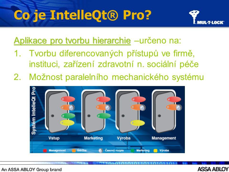 Co je IntelleQt® Pro? Aplikace pro tvorbu hierarchie Aplikace pro tvorbu hierarchie –určeno na: 1.Tvorbu diferencovaných přístupů ve firmě, instituci,