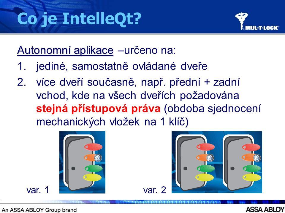 Co je IntelleQt? Autonomní aplikace –určeno na: 1.jediné, samostatně ovládané dveře 2.více dveří současně, např. přední + zadní vchod, kde na všech dv