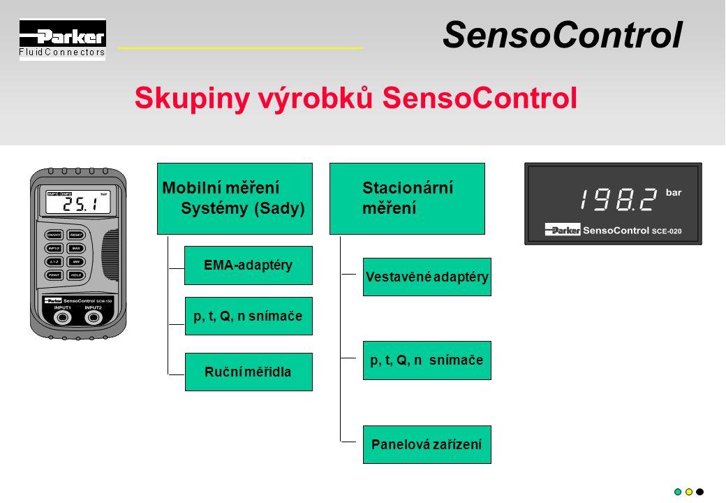 SensoControl Skupiny výrobků SensoControl Mobilní měření Systémy (Sady) p, t, Q, n snímače Panelová zařízení Stacionární měření Vestavěné adaptéry EMA