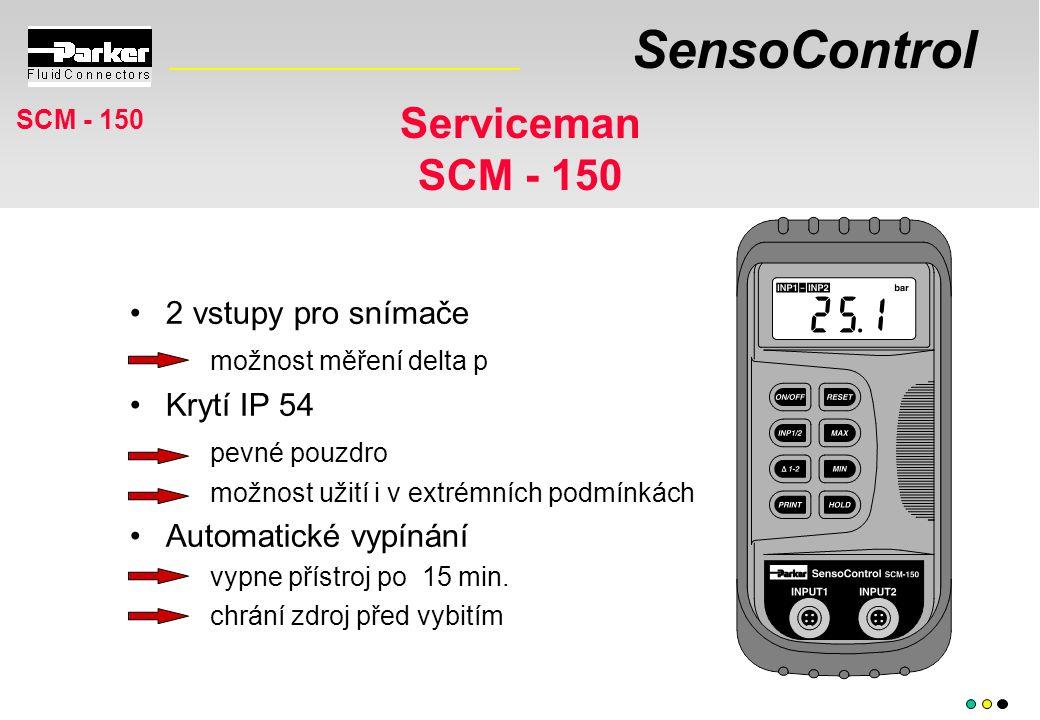 SensoControl Serviceman SCM - 150 2 vstupy pro snímače možnost měření delta p Krytí IP 54 pevné pouzdro možnost užití i v extrémních podmínkách Automatické vypínání vypne přístroj po 15 min.