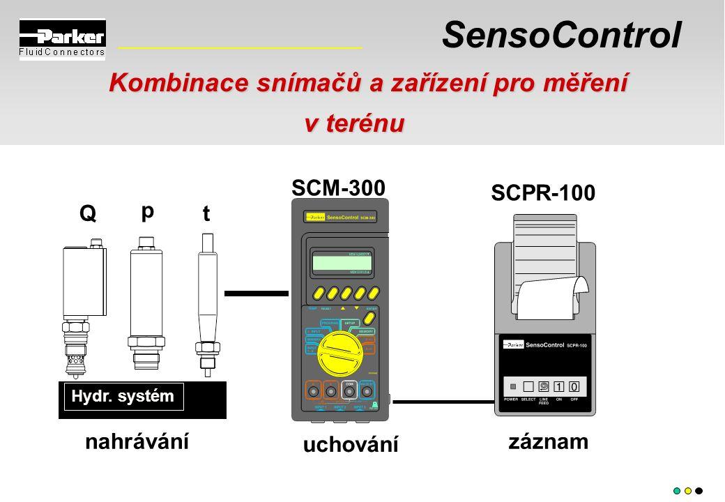SensoControl Kombinace snímačů a zařízení pro měření v terénu v terénu uchování Hydr. systém záznamnahrávání p Qt SCM-300 SCPR-100