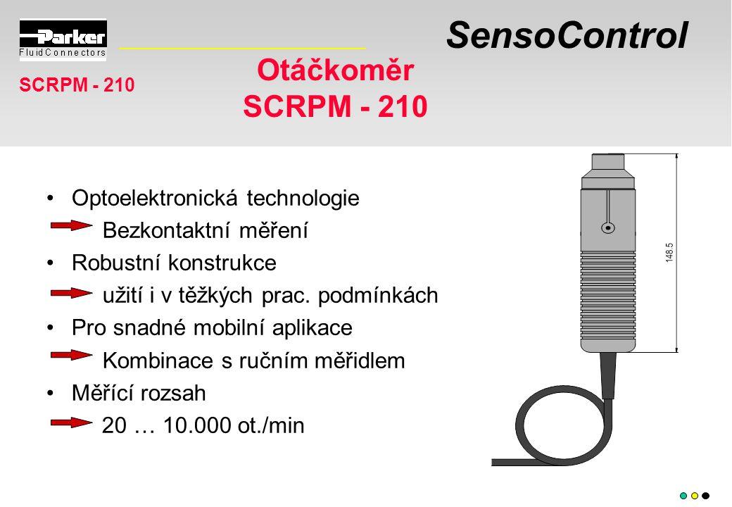 SensoControl Otáčkoměr SCRPM - 210 Optoelektronická technologie Bezkontaktní měření Robustní konstrukce užití i v těžkých prac. podmínkách Pro snadné