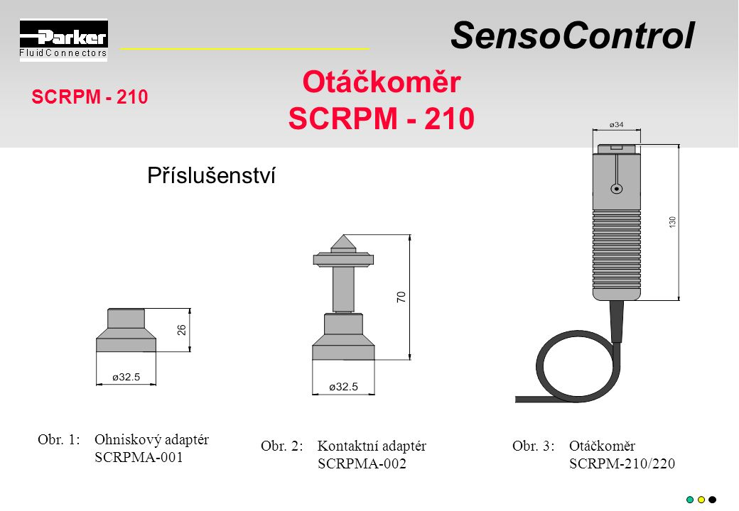 SensoControl Otáčkoměr SCRPM - 210 Obr. 1:Ohniskový adaptér SCRPMA-001 Obr. 2:Kontaktní adaptér SCRPMA-002 Obr. 3:Otáčkoměr SCRPM-210/220 Příslušenstv