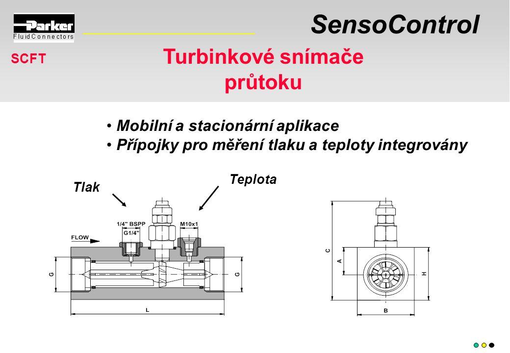 SensoControl Mobilní a stacionární aplikace Přípojky pro měření tlaku a teploty integrovány Turbinkové snímače průtoku SCFT Tlak Teplota