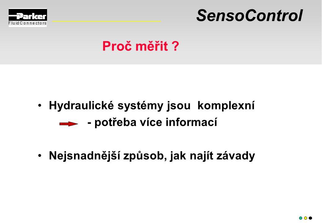 SensoControl Proč měřit ? Hydraulické systémy jsou komplexní - potřeba více informací Nejsnadnější způsob, jak najít závady