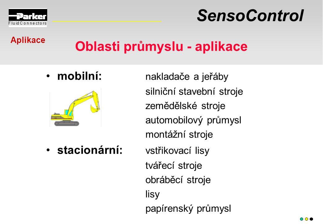SensoControl Oblasti průmyslu - aplikace mobilní: nakladače a jeřáby silniční stavební stroje zemědělské stroje automobilový průmysl montážní stroje s
