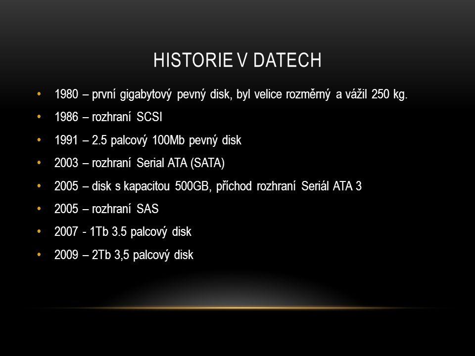 HISTORIE V DATECH 1980 – první gigabytový pevný disk, byl velice rozměrný a vážil 250 kg.
