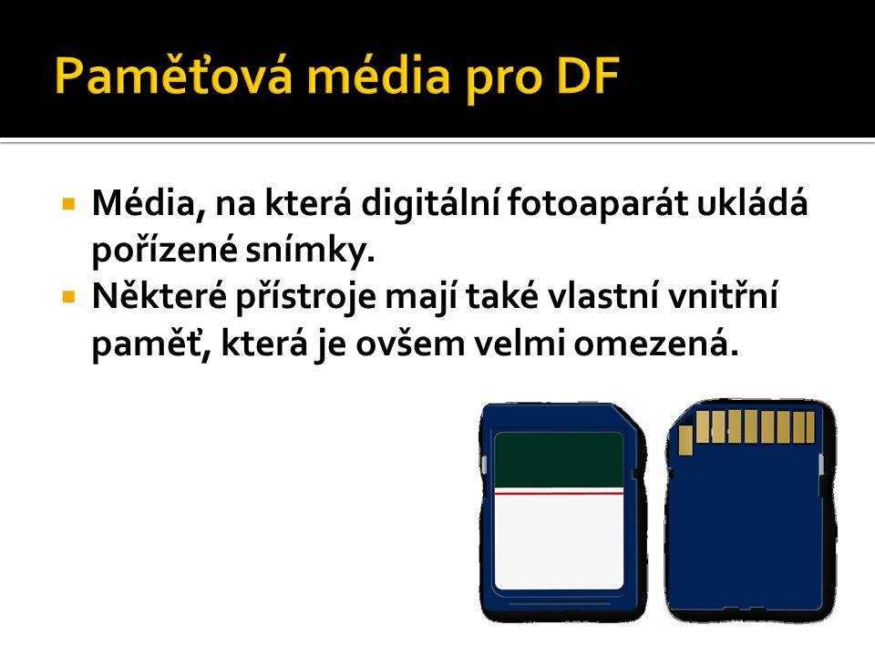  Média, na která digitální fotoaparát ukládá pořízené snímky.  Některé přístroje mají také vlastní vnitřní paměť, která je ovšem velmi omezená.