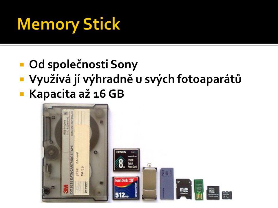  Od společnosti Sony  Využívá jí výhradně u svých fotoaparátů  Kapacita až 16 GB