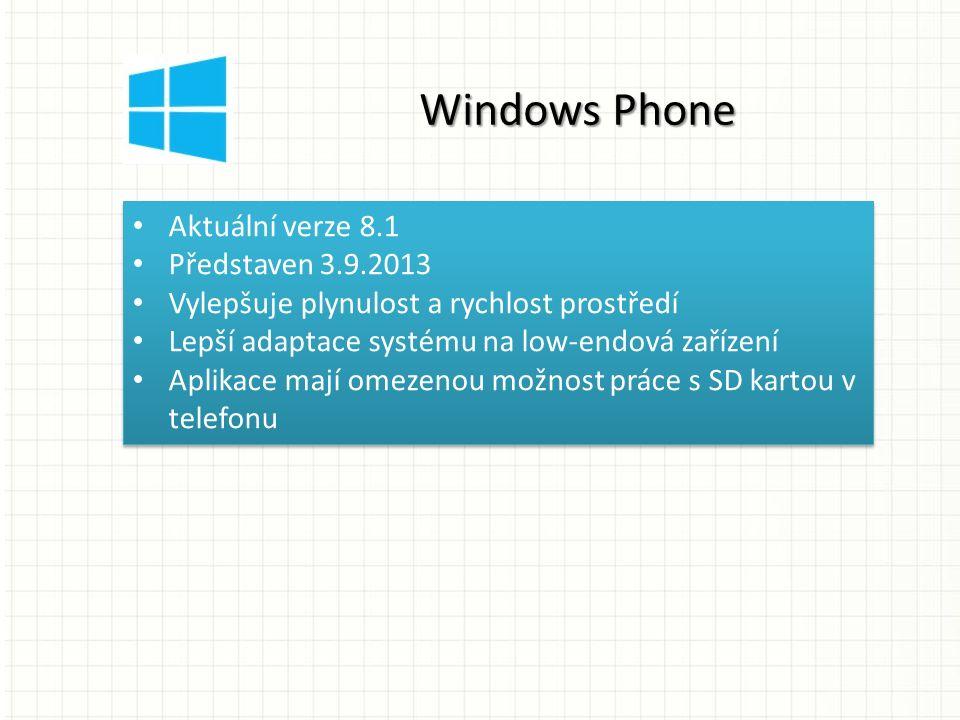 Aktuální verze 8.1 Představen 3.9.2013 Vylepšuje plynulost a rychlost prostředí Lepší adaptace systému na low-endová zařízení Aplikace mají omezenou možnost práce s SD kartou v telefonu Aktuální verze 8.1 Představen 3.9.2013 Vylepšuje plynulost a rychlost prostředí Lepší adaptace systému na low-endová zařízení Aplikace mají omezenou možnost práce s SD kartou v telefonu Windows Phone