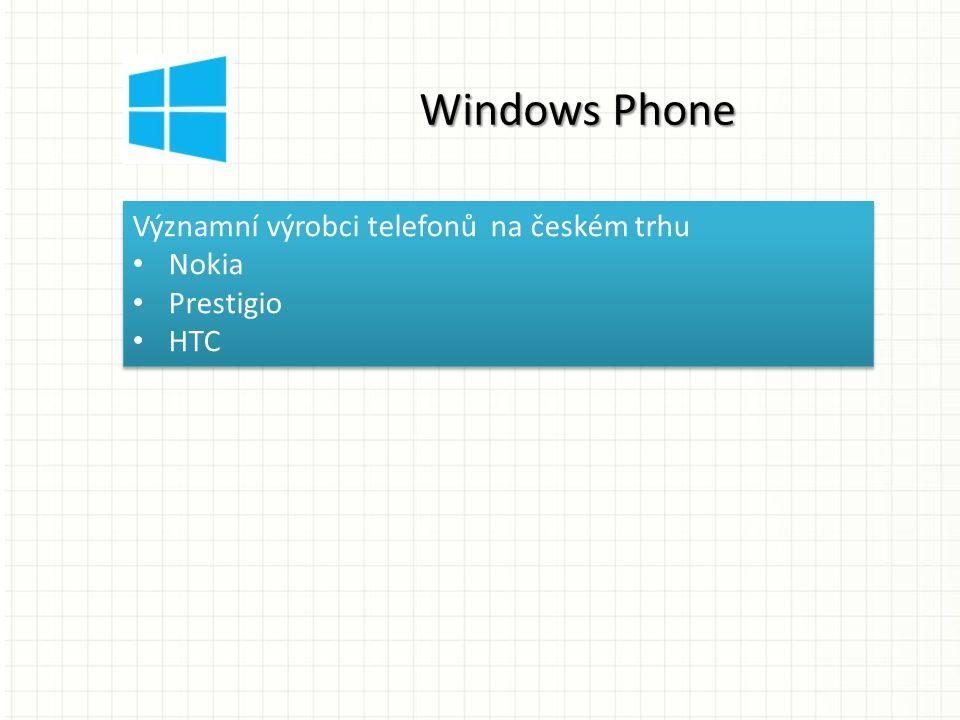 Významní výrobci telefonů na českém trhu Nokia Prestigio HTC Významní výrobci telefonů na českém trhu Nokia Prestigio HTC Windows Phone