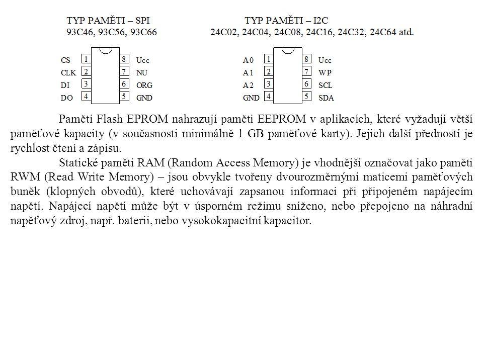 Paměti Flash EPROM nahrazují paměti EEPROM v aplikacích, které vyžadují větší paměťové kapacity (v současnosti minimálně 1 GB paměťové karty).