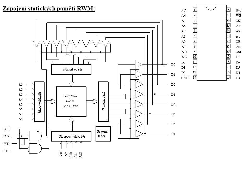 Zapojení statických pamětí RWM: