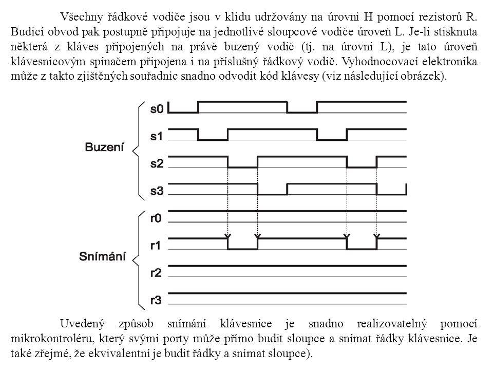 Všechny řádkové vodiče jsou v klidu udržovány na úrovni H pomocí rezistorů R. Budicí obvod pak postupně připojuje na jednotlivé sloupcové vodiče úrove