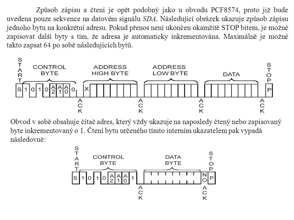 Způsob zápisu a čtení je opět podobný jako u obvodu PCF8574, proto již bude uvedena pouze sekvence na datovém signálu SDA.