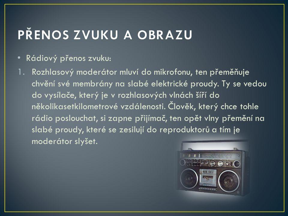 Rádiový přenos zvuku: 1.Rozhlasový moderátor mluví do mikrofonu, ten přeměňuje chvění své membrány na slabé elektrické proudy.