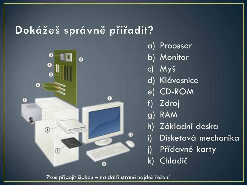 a)Procesor b)Monitor c)Myš d)Klávesnice e)CD-ROM f)Zdroj g)RAM h)Základní deska i)Disketová mechanika j)Přídavné karty k)Chladič Zkus připojit šipkou – na další straně najdeš řešení