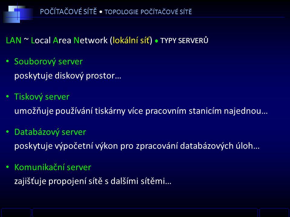 LAN ~ Local Area Network (lokální síť)  TYPY SERVERŮ Souborový server poskytuje diskový prostor… Tiskový server umožňuje používání tiskárny více pracovním stanicím najednou… Databázový server poskytuje výpočetní výkon pro zpracování databázových úloh… Komunikační server zajišťuje propojení sítě s dalšími sítěmi… POČÍTAČOVÉ SÍTĚ TOPOLOGIE POČÍTAČOVÉ SÍTĚ