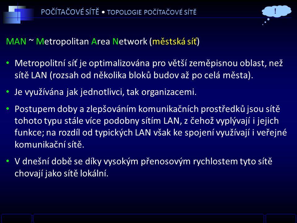 MAN ~ Metropolitan Area Network (městská síť) Metropolitní síť je optimalizována pro větší zeměpisnou oblast, než sítě LAN (rozsah od několika bloků budov až po celá města).