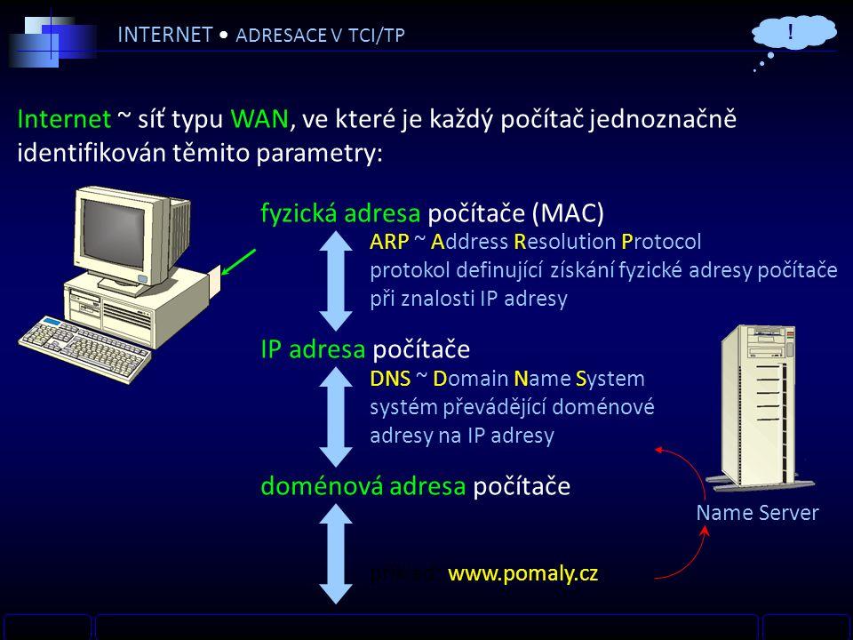 INTERNET ADRESACE V TCI/TP Internet ~ síť typu WAN, ve které je každý počítač jednoznačně identifikován těmito parametry: fyzická adresa počítače (MAC) IP adresa počítače doménová adresa počítače DNS ~ Domain Name System systém převádějící doménové adresy na IP adresy ARP ~ Address Resolution Protocol protokol definující získání fyzické adresy počítače při znalosti IP adresy Name Server příklad: www.pomaly.cz !