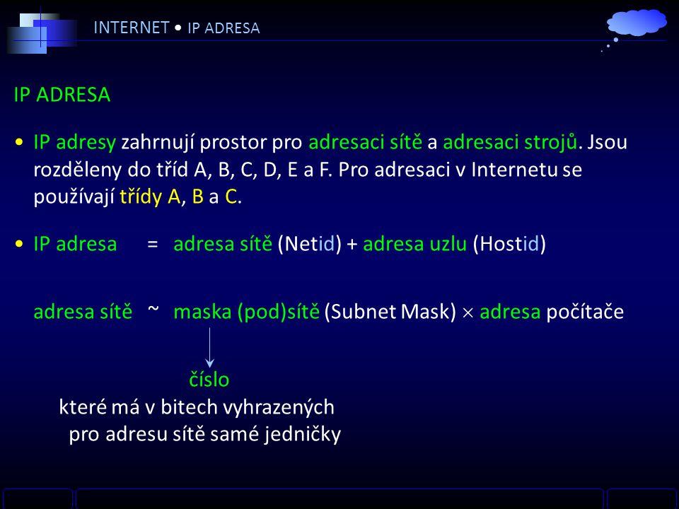 IP ADRESA IP adresy zahrnují prostor pro adresaci sítě a adresaci strojů.