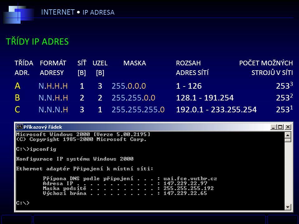 INTERNET IP ADRESA TŘÍDY IP ADRES TŘÍDA FORMÁTSÍŤUZEL MASKAROZSAHPOČET MOŽNÝCH ADR.