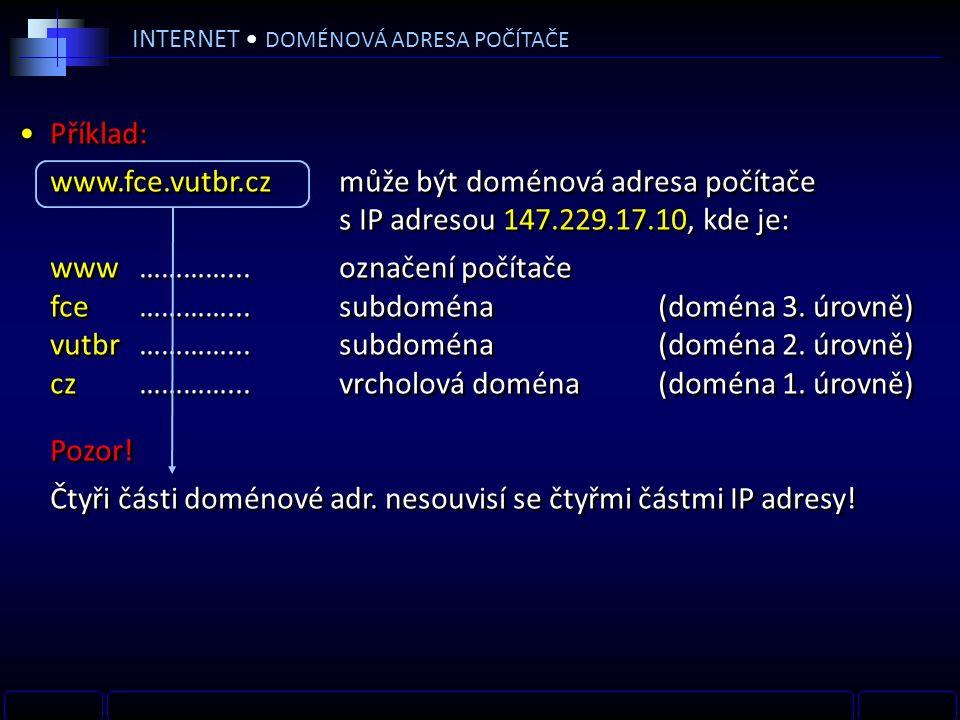 INTERNET DOMÉNOVÁ ADRESA POČÍTAČE Příklad: www.fce.vutbr.czmůže být doménová adresa počítače s IP adresou 147.229.17.10, kde je: www…………...označení počítače fce…………...subdoména (doména 3.