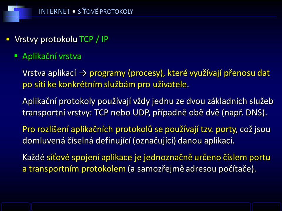INTERNET SÍŤOVÉ PROTOKOLY Vrstvy protokolu TCP / IP  Aplikační vrstva Vrstva aplikací → programy (procesy), které využívají přenosu dat po síti ke konkrétním službám pro uživatele.