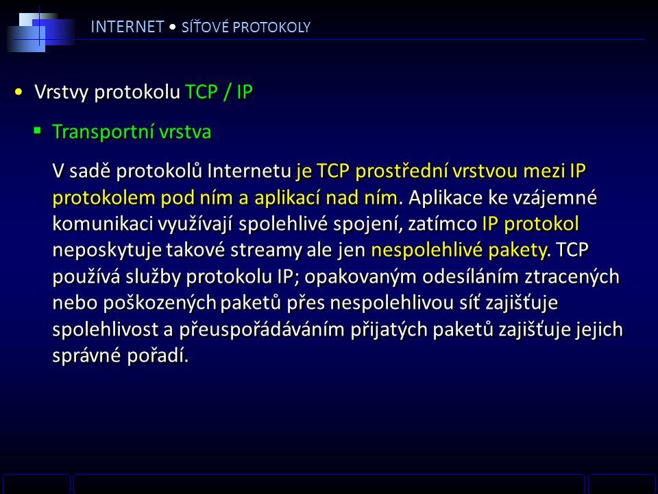 INTERNET SÍŤOVÉ PROTOKOLY Vrstvy protokolu TCP / IP  Transportní vrstva V sadě protokolů Internetu je TCP prostřední vrstvou mezi IP protokolem pod ním a aplikací nad ním.