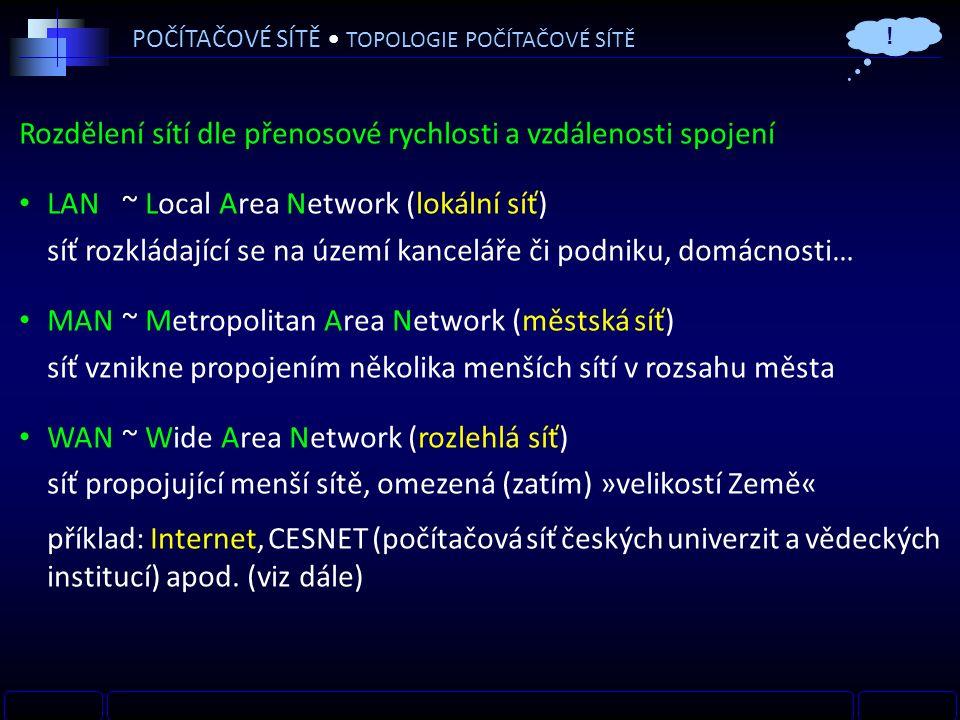 POČÍTAČOVÉ SÍTĚ TOPOLOGIE POČÍTAČOVÉ SÍTĚ Rozdělení sítí dle přenosové rychlosti a vzdálenosti spojení LAN~ Local Area Network (lokální síť) síť rozkládající se na území kanceláře či podniku, domácnosti… MAN~ Metropolitan Area Network (městská síť) síť vznikne propojením několika menších sítí v rozsahu města WAN~ Wide Area Network (rozlehlá síť) síť propojující menší sítě, omezená (zatím) »velikostí Země« příklad: Internet, CESNET (počítačová síť českých univerzit a vědeckých institucí) apod.