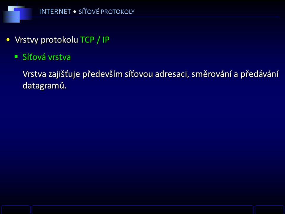 INTERNET SÍŤOVÉ PROTOKOLY Vrstvy protokolu TCP / IP  Síťová vrstva Vrstva zajišťuje především síťovou adresaci, směrování a předávání datagramů.