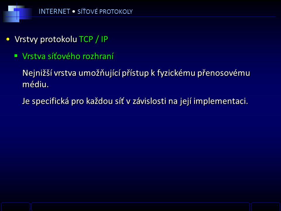 INTERNET SÍŤOVÉ PROTOKOLY Vrstvy protokolu TCP / IP  Vrstva síťového rozhraní Nejnižší vrstva umožňující přístup k fyzickému přenosovému médiu.